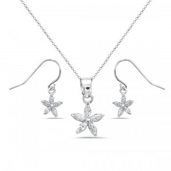 Sterling Silver Set Earring+Pendant 8.5mm 5 Petals Flower Dangling with