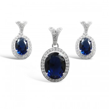 STERLING SILVER SET OVAL SAPPHIRE GLASS +CLEAR CUBIC ZIRCONIA AROUND