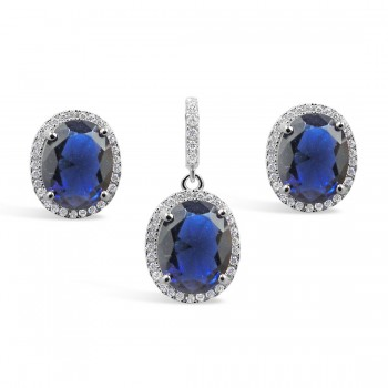 STERLING SILVER SET OVAL SAPPHIRE GLASS AROUND BAIL WITH CUBIC ZIRCONIA