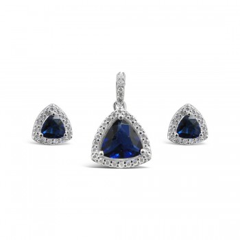 STERLING SILVER SET TRIANGLE SAPPHIRE GLASS+CUBIC ZIRCONIA AROUND DETACHED