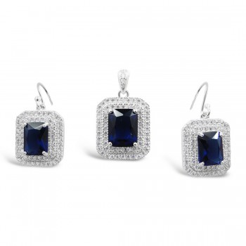 STERLING SILVER SET RECTANGULAR SAPPHIRE GLASS  DOUBLE CUBIC ZIRCONIA LINES