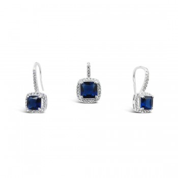 STERLING SILVER SET SQUARE SAPPHIRE GLASS AROUND DETACHED