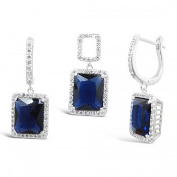 STERLING SILVER SET RECTANGULAR SAPPHIRE GLASS+CLEAR CUBIC ZIRCONIA AROUND