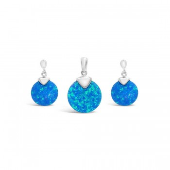 Sterling Silver Set Of Earring And Pendant Round Blue Lab Creat