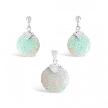Sterling Silver Set Of Earring And Pendant Round White Lab Crea