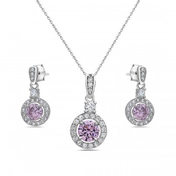 Sterling Silver Set Of Round Pink Cubic Zirconia Center Small Clear Cubic Zirconia