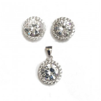 Set Earring And Pendant Round Clear Cubic Zirconia With Clear