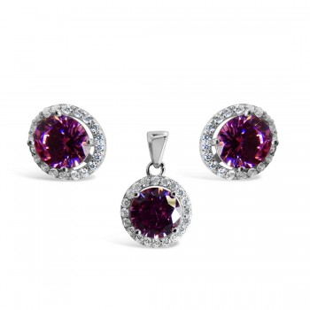 Set Earring And Pendant Round Pink Cubic Zirconia With Clear Cubic Zirconia