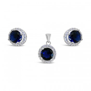 Set Earring And Pendant Round Sapphire Blue Glass