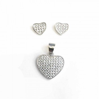 Sterling Silver SET OF PAVE HEART Cubic Zirconia EARRING AND PENDANT