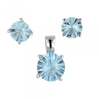 Sterling Silver Pendant (8mm) +Earg (6mm) Round Flower Cut Aqua Marine Glass