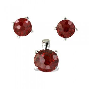 Sterling Silver Pendant (8mm) +Earg (6mm) Round Flower Cut Garnet Cubic Zirconia