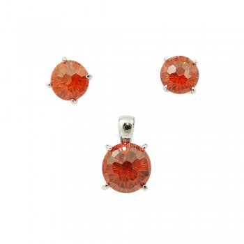SS Pdnt(10Mm)+Earg(8Mm) Round Flwr Cut Gn Cz, Red