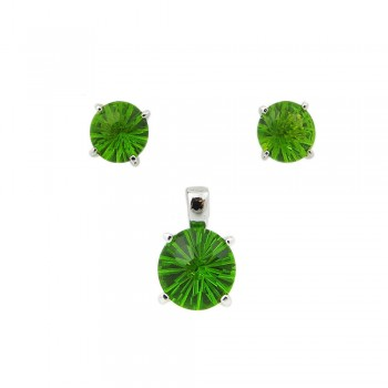 SS Pdnt(10Mm)+Earg(8Mm) Round Flwr Cut Pd Glass, Green