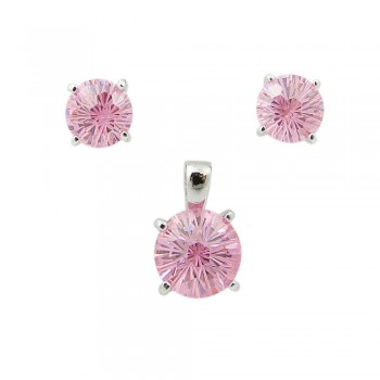 SS Pdnt(10Mm)+Earg(8Mm) Round Flwr Cut Pk Cz, Pink