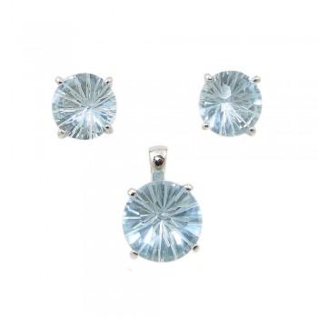 SS Pdnt(12Mm)+Earg(10Mm) Aq Glass Flwr Cut, Blue