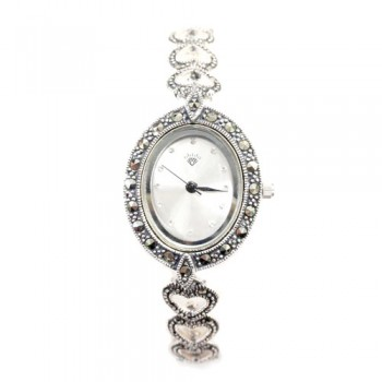 Marcasite Watch Oval Wht. Face Open Heart Strap