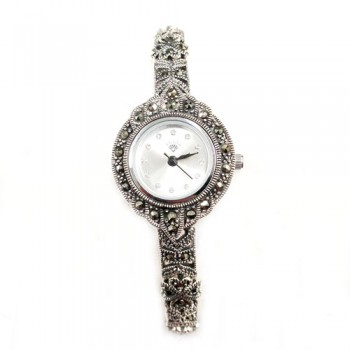 Marcasite Watch Rd White Face 4Leaf Clover Link Strap
