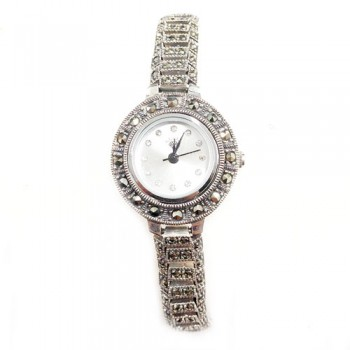 Marcasite Watch Whte Rd Face Railroad Track Strap