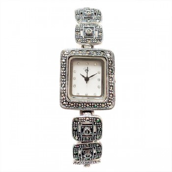 Marcasite Watch Square with Marcasite Dot Strap Rectangle White Face