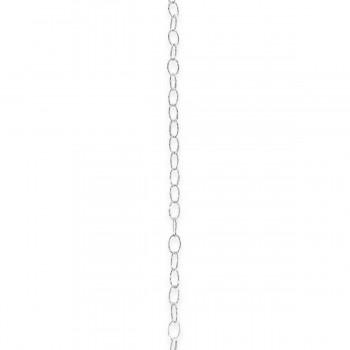 "Sterling Silver Oval 18"" Chain Diamond Cut"