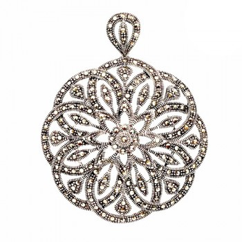 Mbrass Pendant Round Floral *Silver Plate*