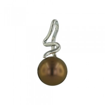 "Brass Pdnt ""S"" Line W/10.32Mm Brown Shell Pearl W/, Brown"