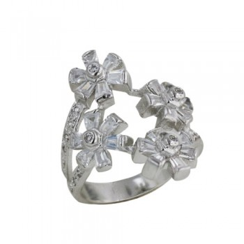Brass Ring 6 Petals Flws Cl Cz*6 **Rh**