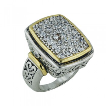 Brass Ring 19.75*25.3Mm Rectangular Cl Cz Pave W/F