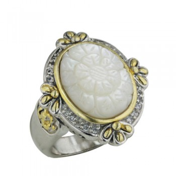 Brass Ring 18*14Mm Oval Mop Engraved Flower W/Gold