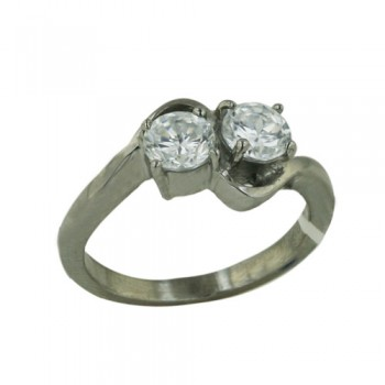 Stainless Steel Ring 5Mm Round Cl Cz *2 By Pass