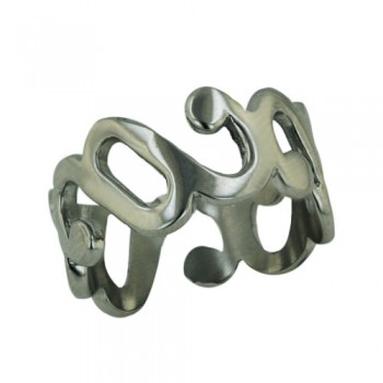 Stainless Steel Ring Swirls Wide Band