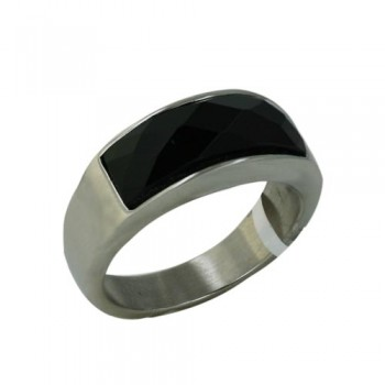 Stainless Steel Ring Wide Band Rec. Onyx Faceted