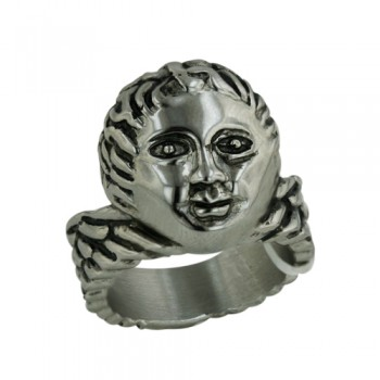 Stainless Steel Ring Boy Head Oxidized W/Rope