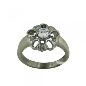Stainless Steel Ring Open Flw Cl Cz Center