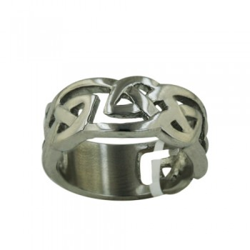 Stainless Steel Ring Wide Band Filigree